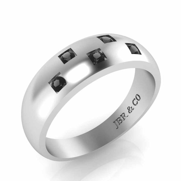 Simple Design Round Cut Sterling Silver Men's Ring