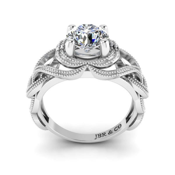 JBR Round Cut Solitaire Sterling Silver Women's Ring