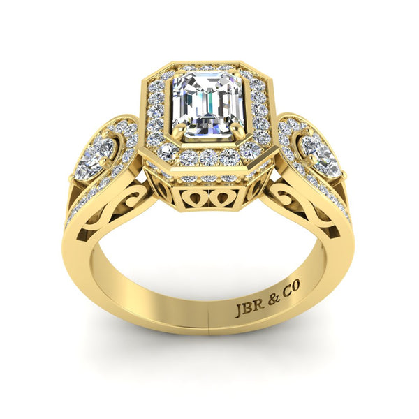 JBR Wave Style Halo Emerald Cut Sterling Silver Engagement Ring