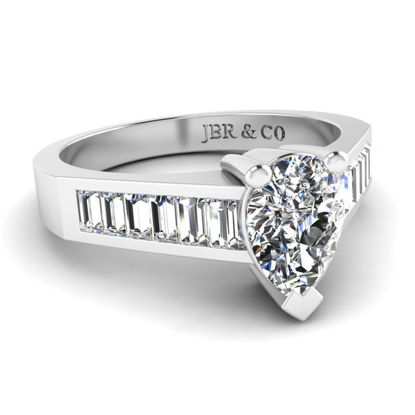 JBR Classic Pear Cut Sterling Silver Ring