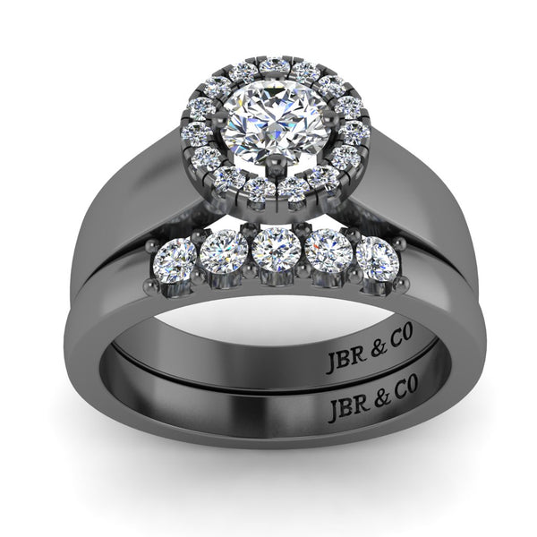 JBR Classic Round Cut Sterling Silver Ring Set