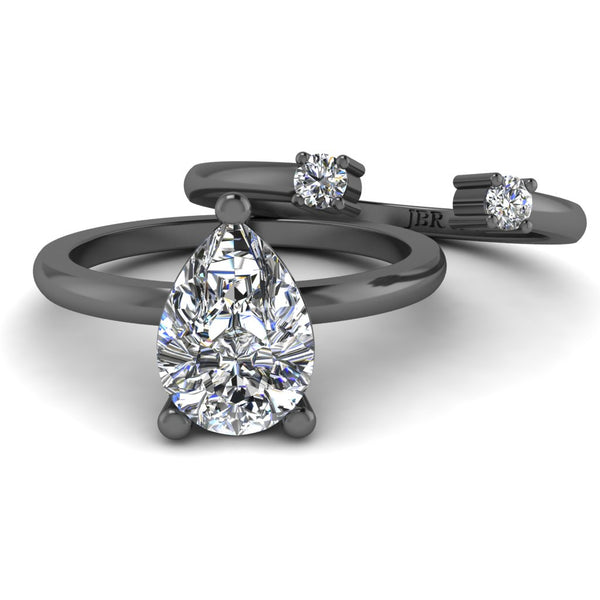 JBR Classic Solitaire Pear Cut Sterling Silver Ring Set