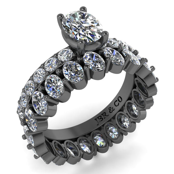 JBR Luxurious Oval Cut Eternity Sterling Silver Ring Set