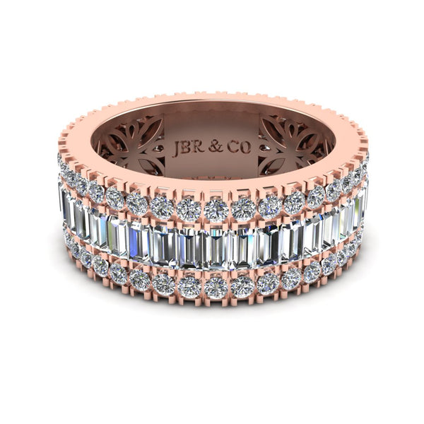 JBR Pave-Set Baguette and Round Cut Women's Wedding Band