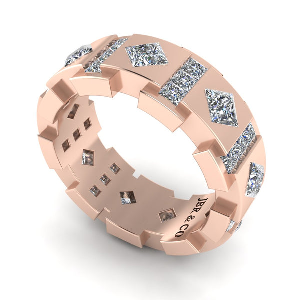 JBR Princess Cut Diamonds Sterling Silver Unisex Band