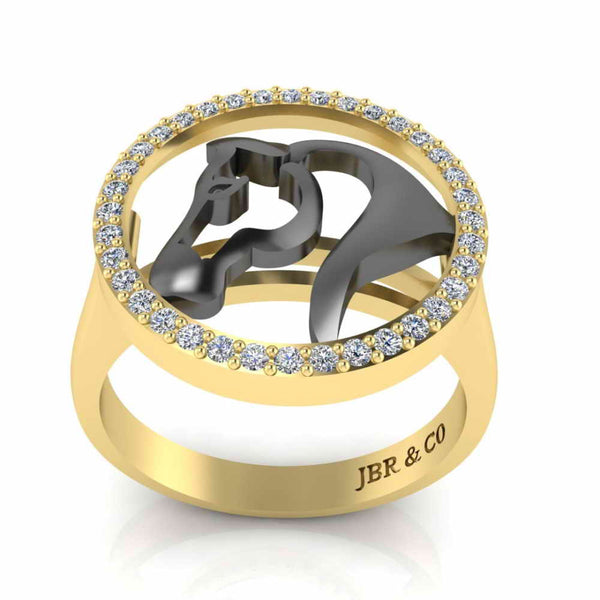 Two Tone Lucky Horseshoe Sterling Silver Animal Ring