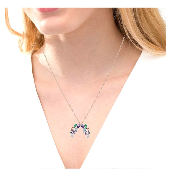 JBR Familiar Leaf Multi-color Round Cut Sterling Silver Necklace