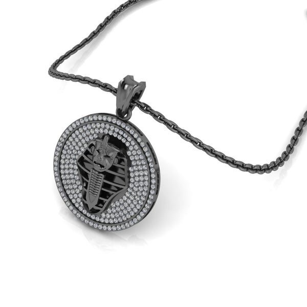 "JBR ""Egyptian mummies "" Round Cut Sterling Silver Necklace"