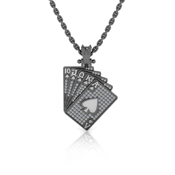 JBR Hip Hop Iced Out Poker Pendant Sterling Silver Necklace