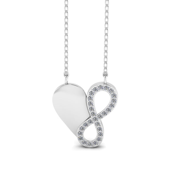 "JBR ""Endless Love""Heart and Infinty Sterling Silver Necklace"