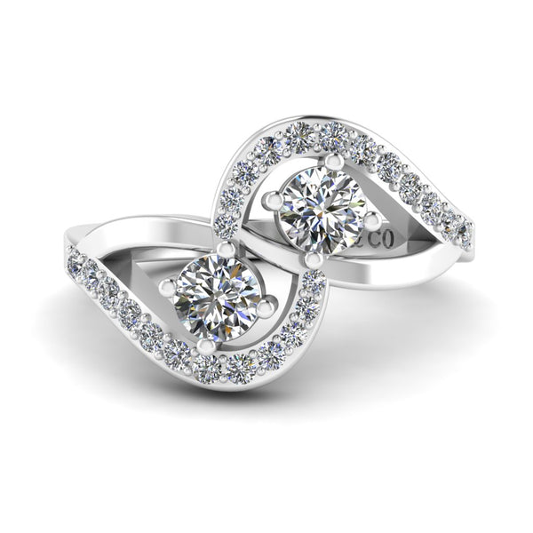 JBR Crossover Round Cut Diamonds Sterling Silver Promise Ring