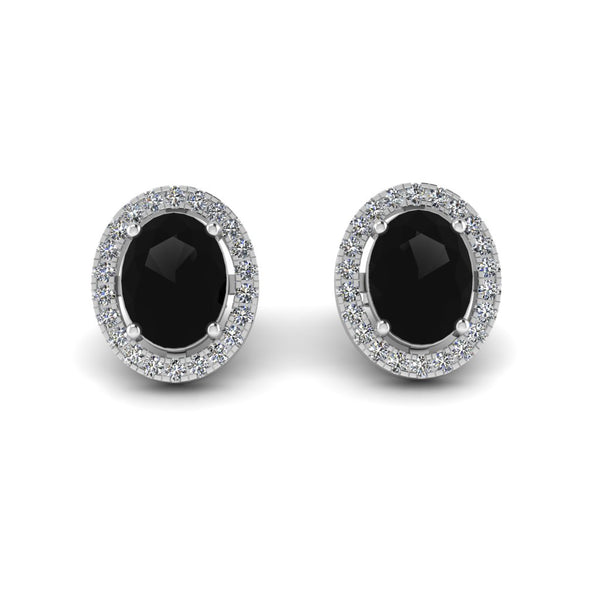 JBR Halo Black Oval Cut Stimulants Sterling Silver Stud Earrings
