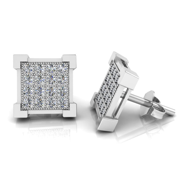 JBR V Prong Round Cut Hip Hop Iced Out Sterling Silver Stud Earrings For Mens and Women