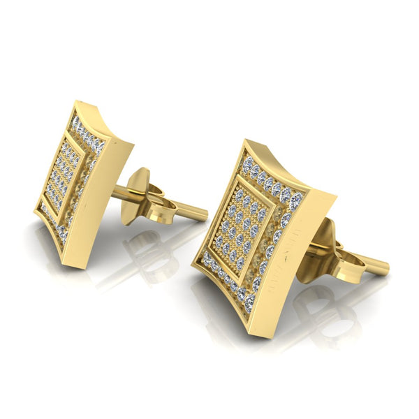 JBR 925 Sterling Silver Iced out Men Square Kite Screw Back Stud Earrings