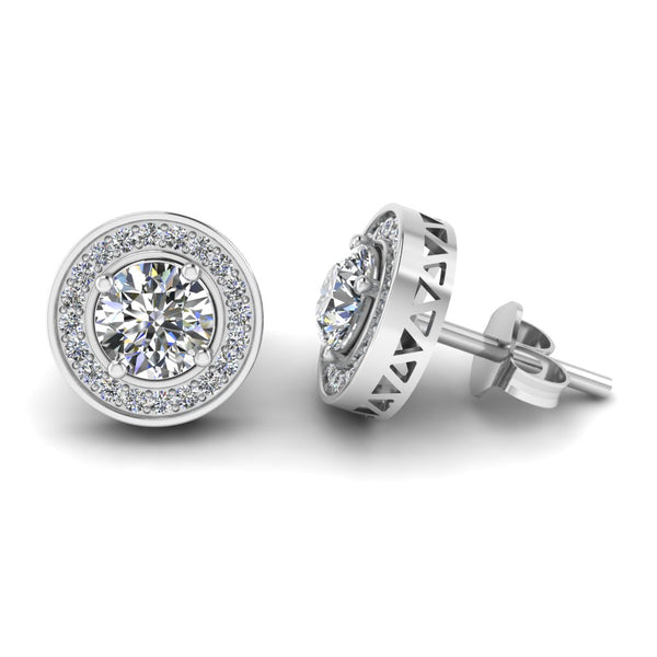 JBR Classic Halo Round Cut Milgrain Sterling Silver Stud Earrings