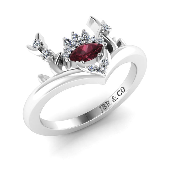 JBR Sambar Garnet Rhodolite Pear Cut Sterling Silver Fashion Ring