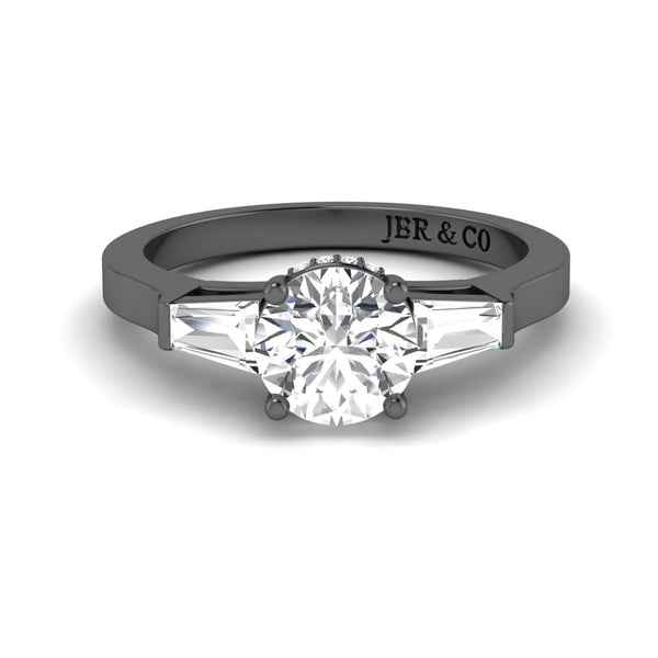 JBR Three Stone 1.30CT Round Cut Sterling Silver Ring