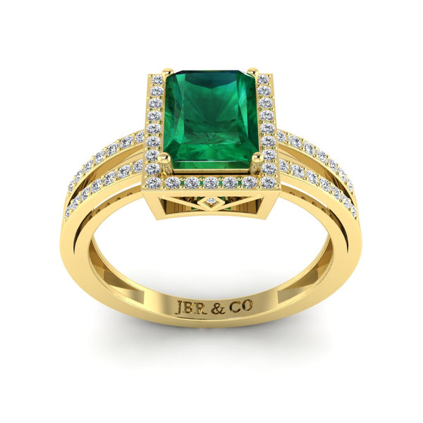Sterling JBR Halo Emerald Gemstone Silver BirthStone Ring
