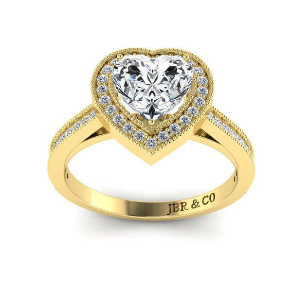 JBR Halo Heart Cut Sterling Silver Diamond Wedding Ring
