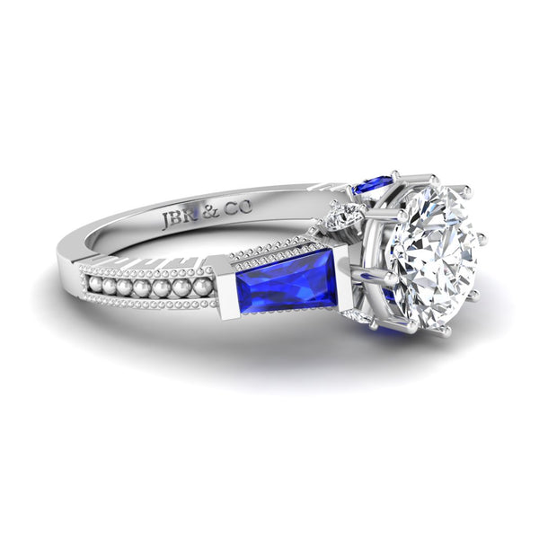 JBR Three Stone Sapphire Round Cut Sterling Silver Ring
