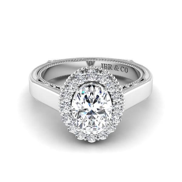 JBR Halo 1.0 CT Oval Cut Sterling Silver Engagement Ring
