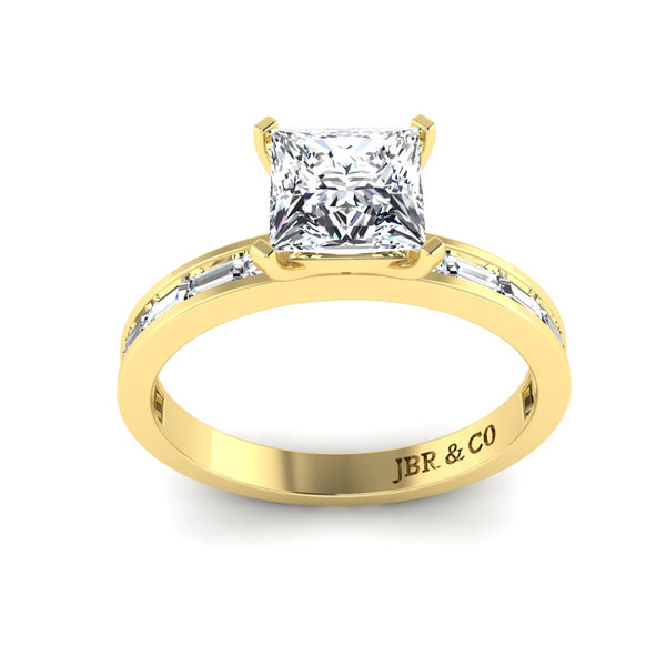 JBR Classic Solitaire Princess Cut Sterling Silver Promise Ring