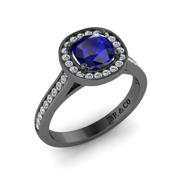 JBR Halo Cushion Cut Sapphire Sterling Silver Promise Ring