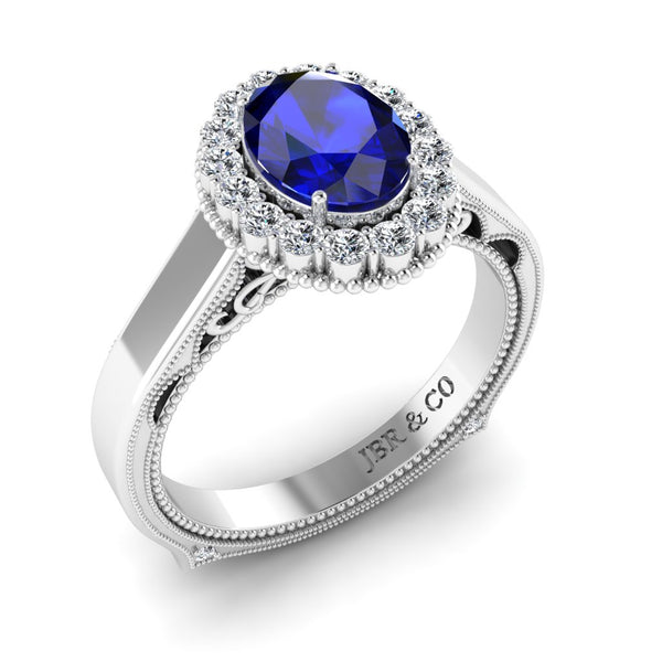 JBR Halo 1.0 CT Oval Sapphire Sterling Silver Promise Ring