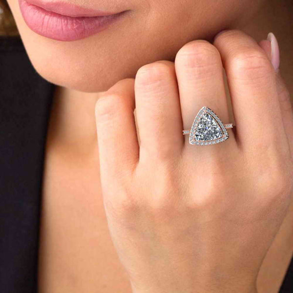 JBR Classic Trillion Cut Halo Design Sterling Silver Ring