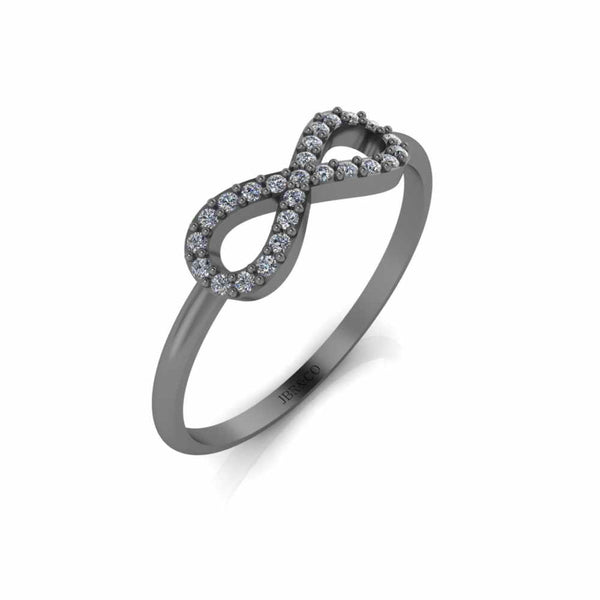 Simple Diamond Infinity Ring in Sterling Silver