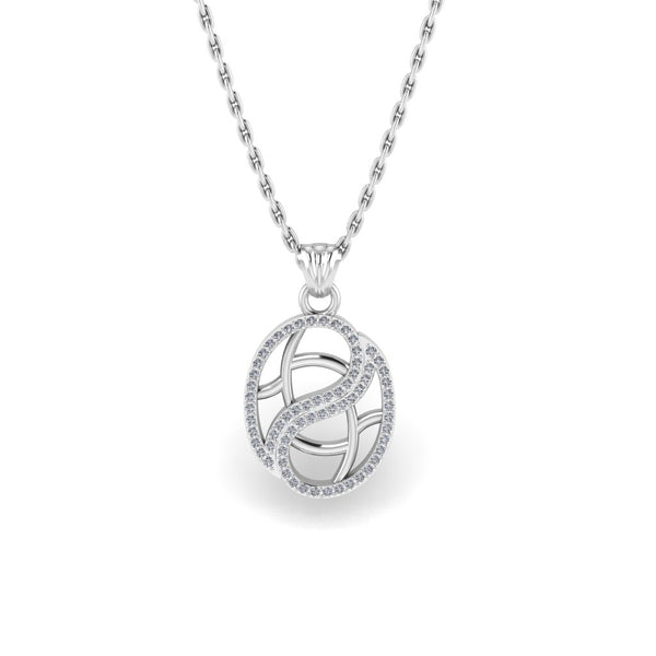 JBR Simple Branch Frame Sterling Silver Pendant Necklace