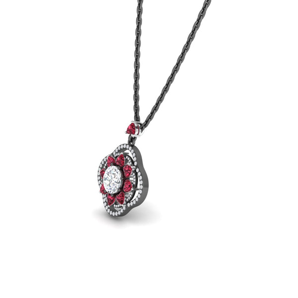 JBR Lucky Flower Diamond and Ruby Sterling Silver Necklace