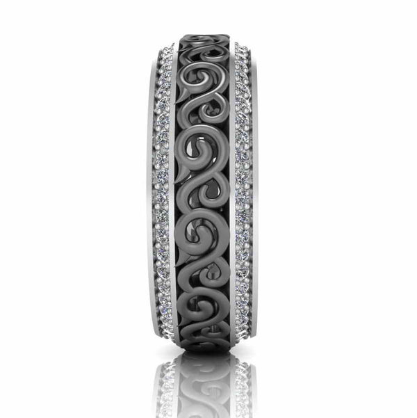 Art Deco Style Two Tone Sterling Silver Women's Band