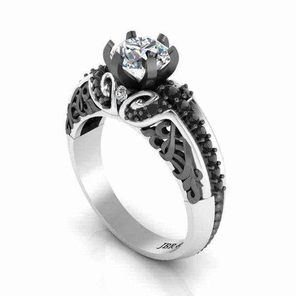 Two Tone Round Solitaire Sterling Silver Engagement Ring