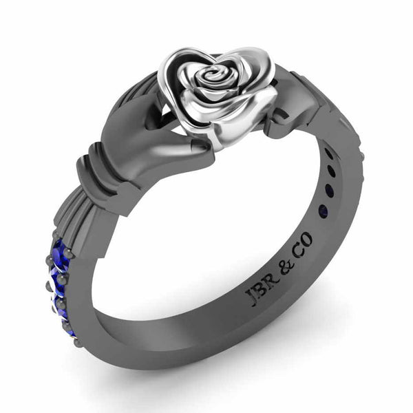 Two Tone Claddagh Rose Ring In Sterling Silver