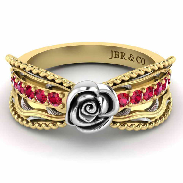 Two Tone Twisted Style Rose Ring In Sterling Silver