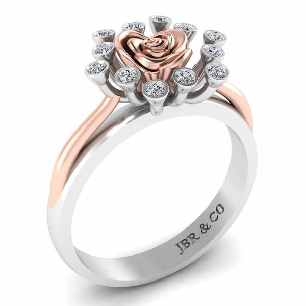 Two Tone Round Cut Sterling Silver Rose ring