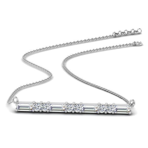 JBR Bar Baguette & Round Cut Pendant Sterling Silver Necklace