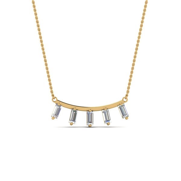 JBR Curved Bar With Baguette Sterling Silver Necklace