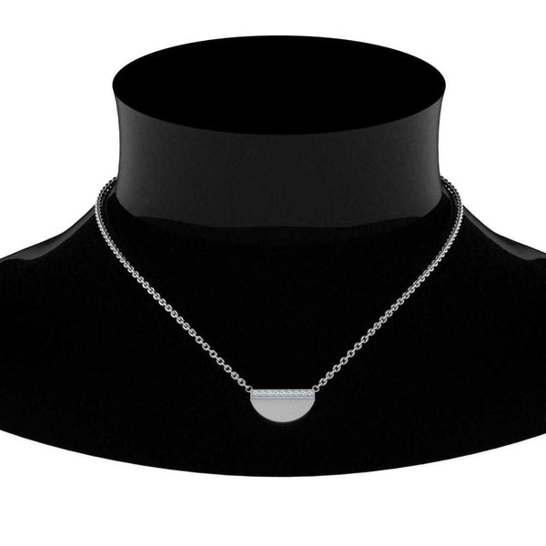 JBR Half Disc Diamond Stacking Sterling Silver Necklace