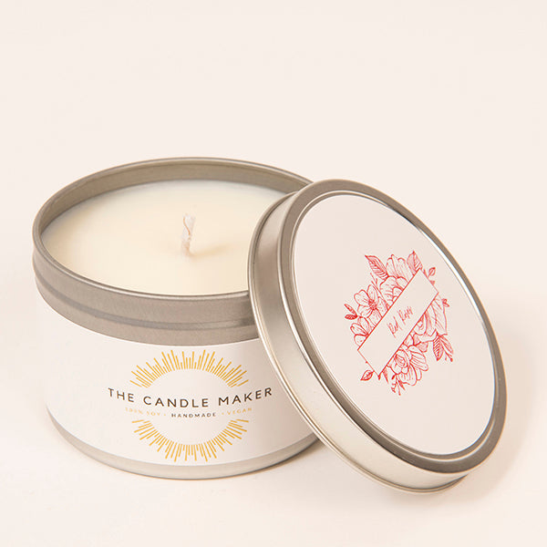 red roses soy wax candle