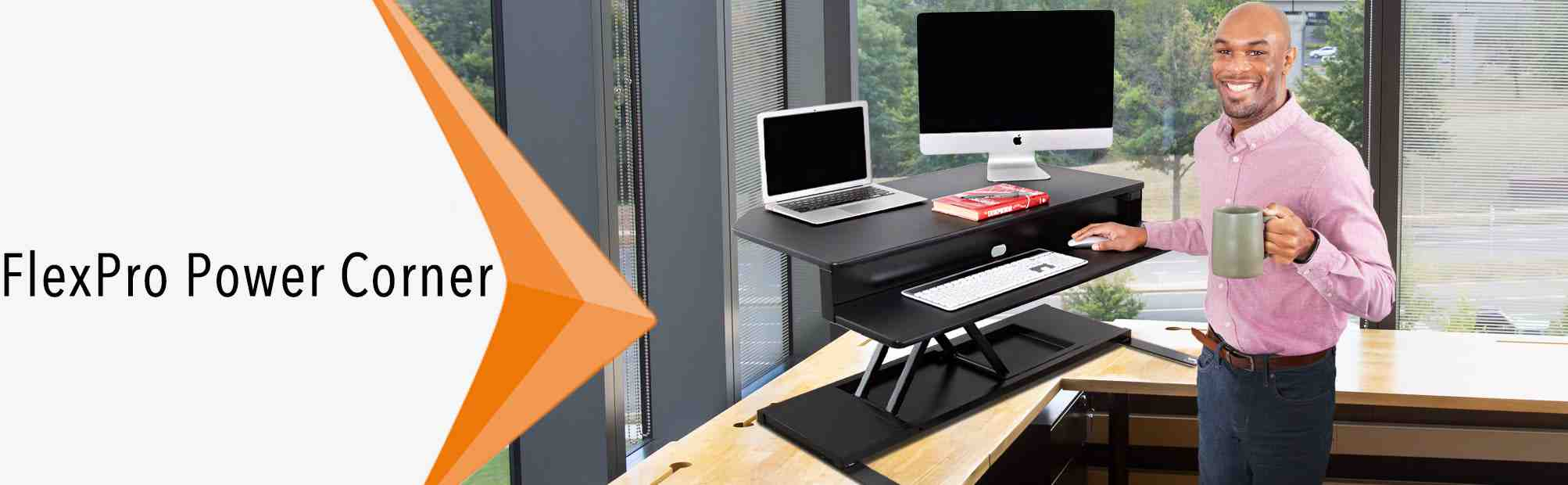 Stand Steady FlexPro Power Corner Sit to Stand Desk for Corner Offices and Cubicles
