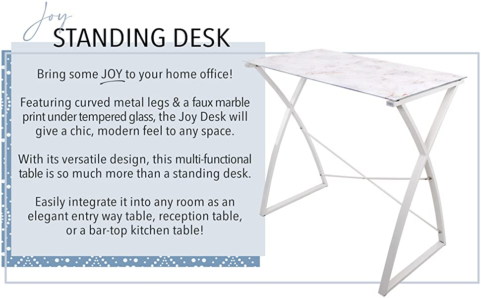 Joy galss standing desk with marble print - perfect for any home office!