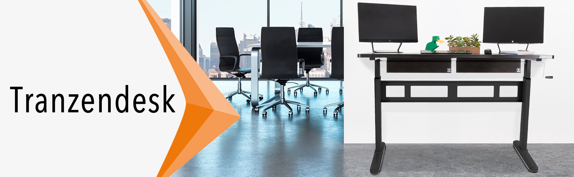 Stand Steady Tranzendesk 55 Inch Standing Desk with Two Under Desk Drawers