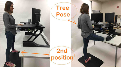 Standing desk pants for use with stand up desk converters.