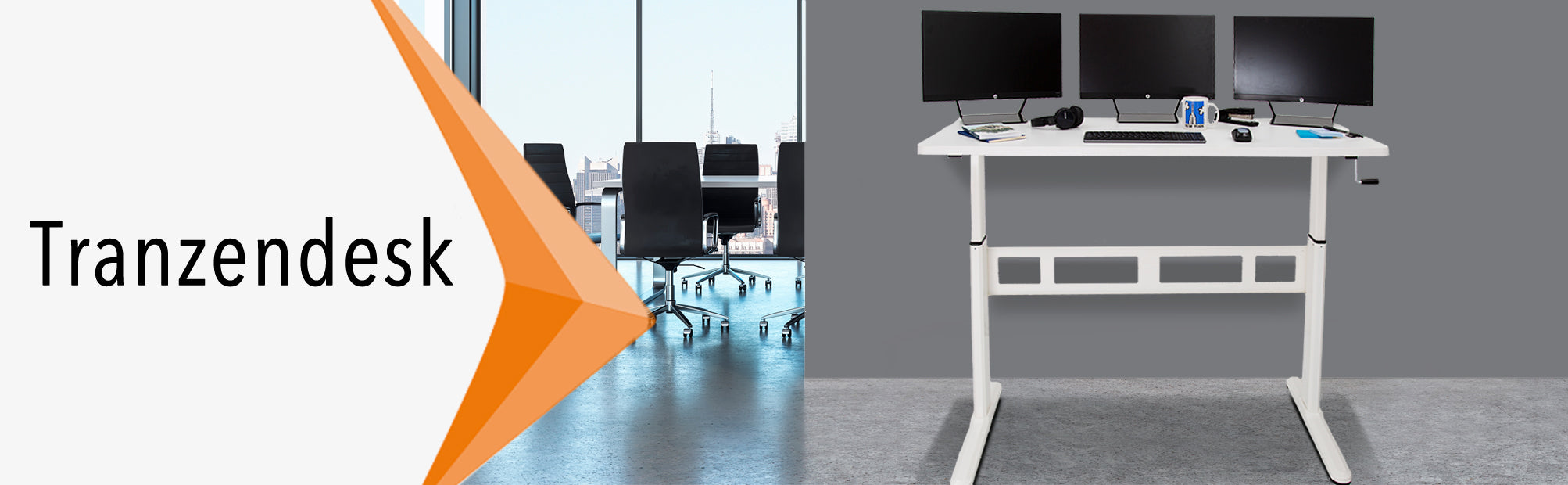 Stand Steady Tranzendesk 55 Inch Standing Desk with White Desktop