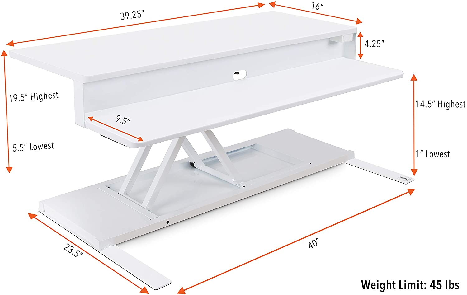 FlexPro Power 40 Inch Desk Converter White