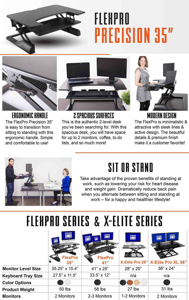 "FlexPro Precision 35"" Affordable Standing Desk"