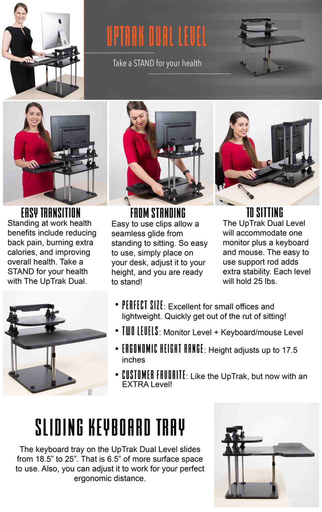 The UpTrak Dual Level sit/stand Standing Desk by Stand Steady