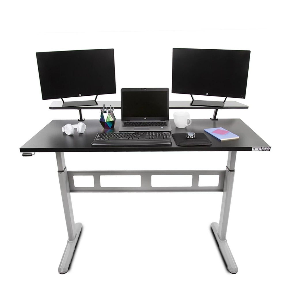 Tranzendesk Crank Standing Desk with Clamp on Shelf